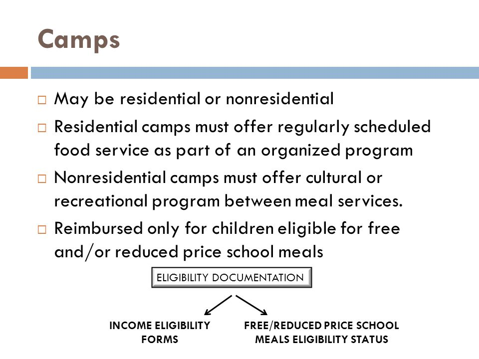 Camps May be residential or nonresidential