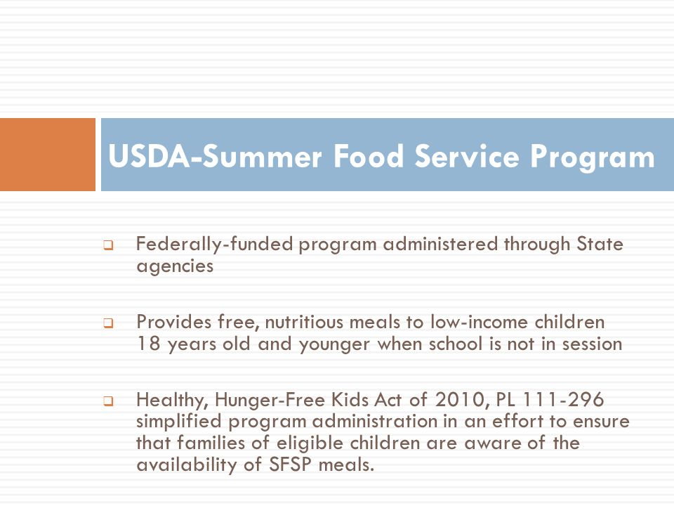 USDA-Summer Food Service Program