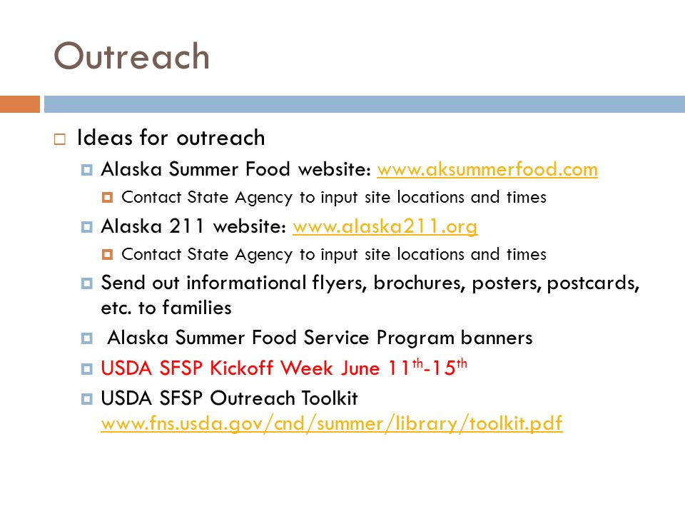 Outreach Ideas for outreach