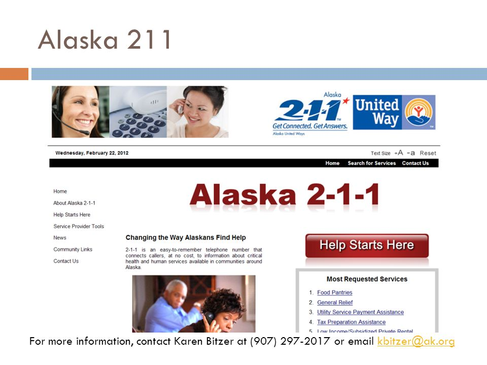 Alaska 211 Short presentation from Karen Bitzer, Alaska 211.