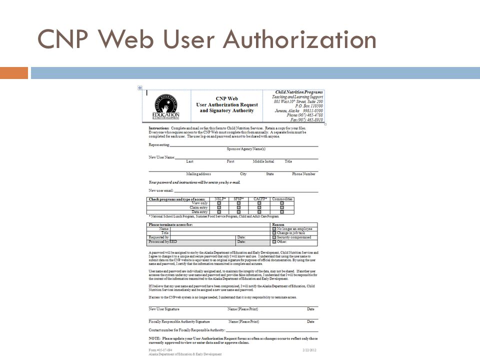 CNP Web User Authorization