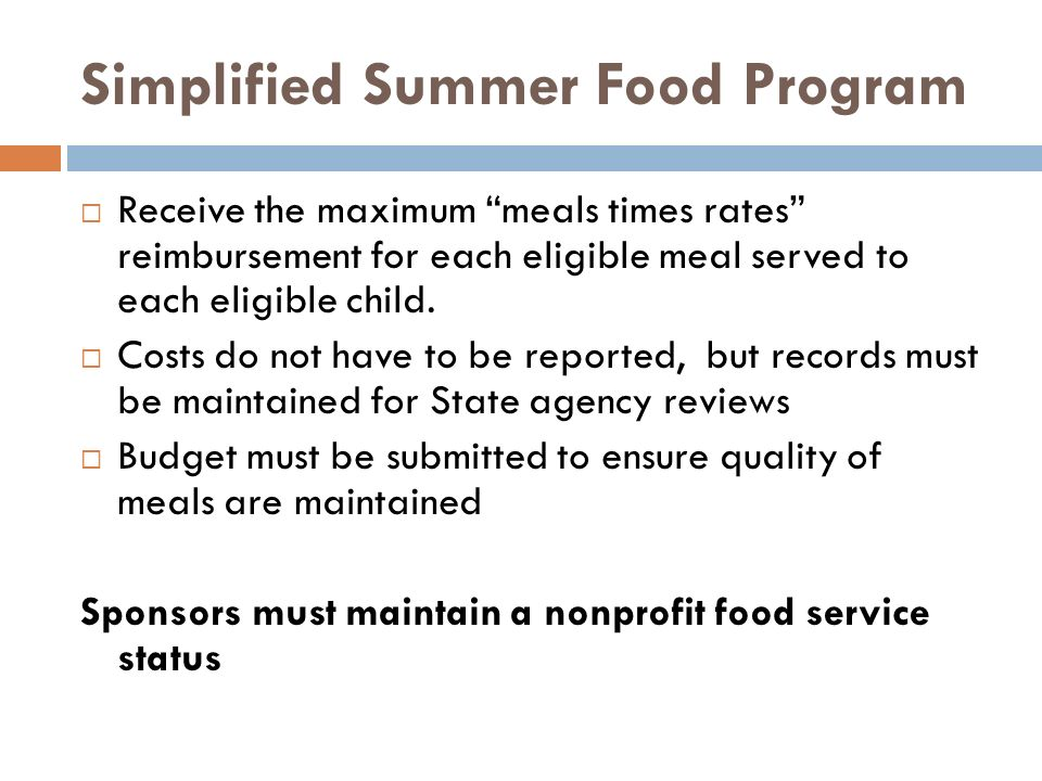 Simplified Summer Food Program