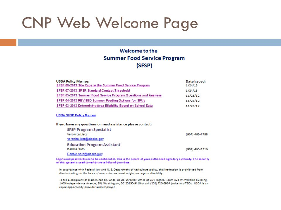 CNP Web Welcome Page