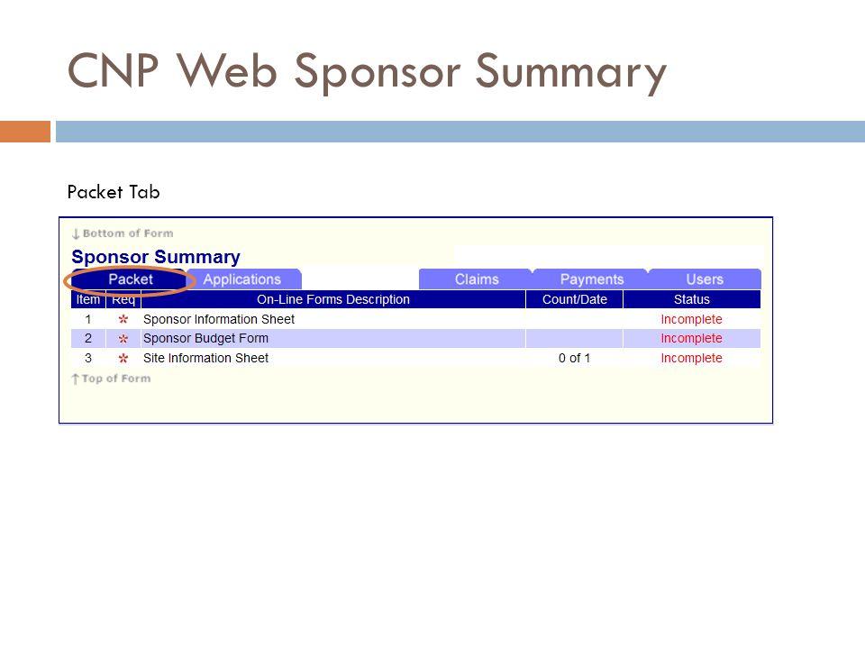 CNP Web Sponsor Summary