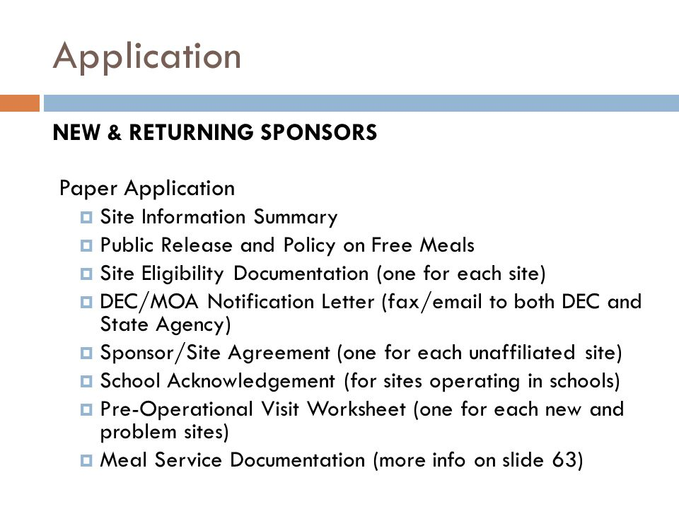 Application NEW & RETURNING SPONSORS Paper Application