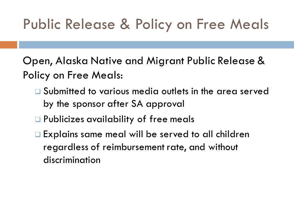 Public Release & Policy on Free Meals