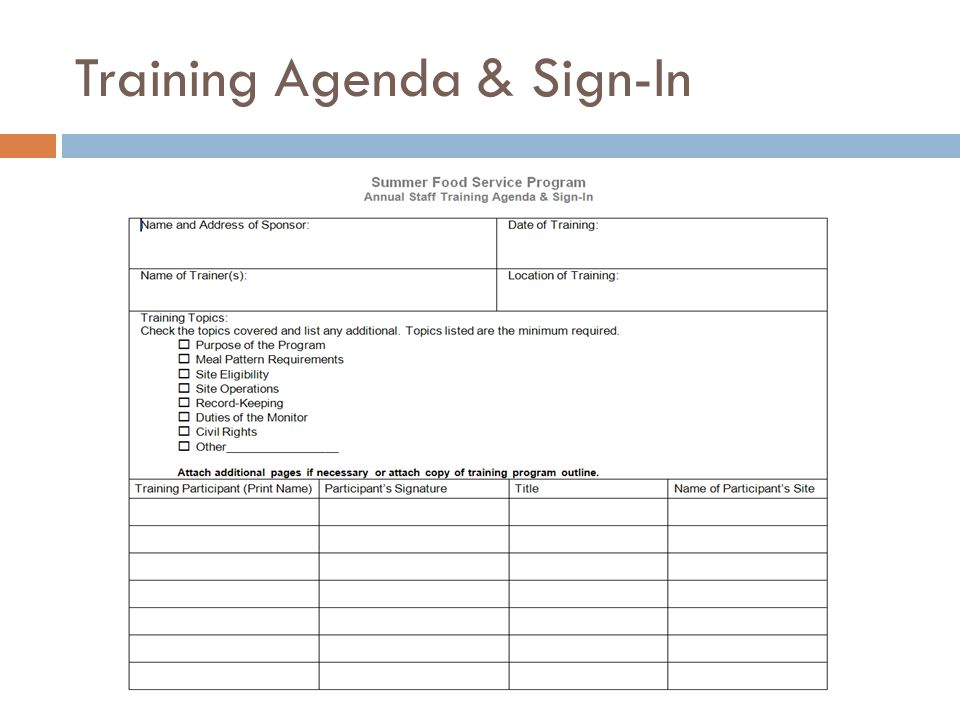 Training Agenda & Sign-In