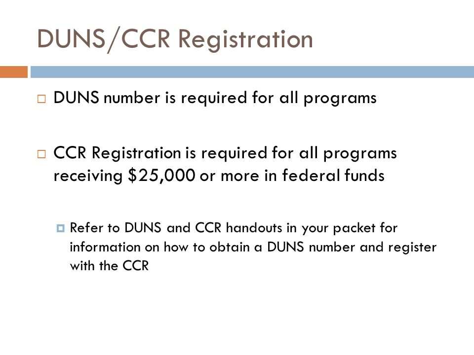 DUNS/CCR Registration