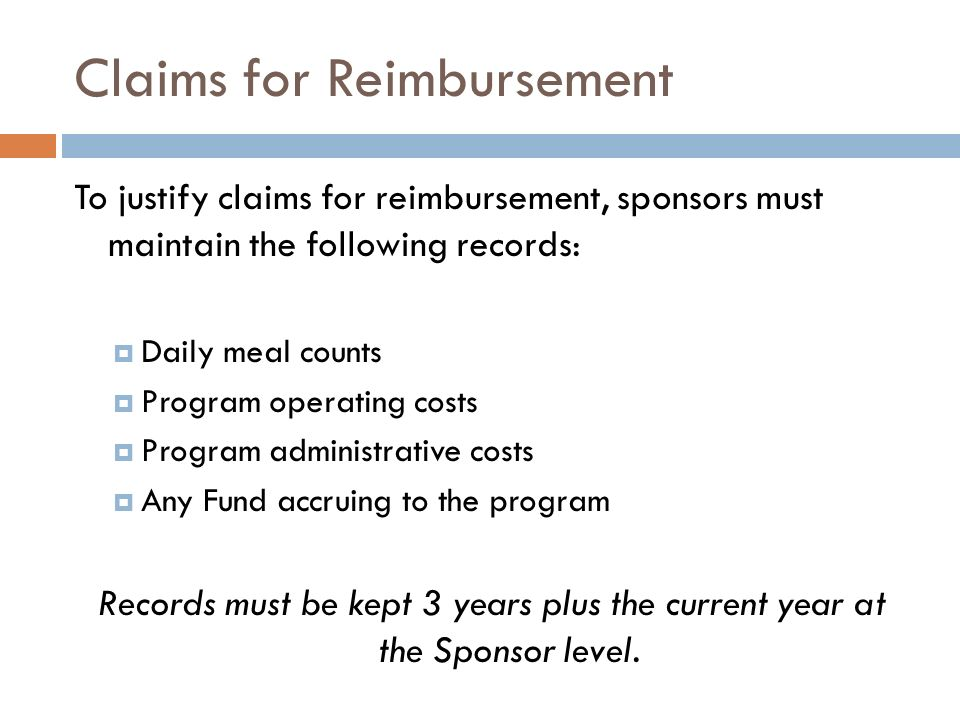 Claims for Reimbursement