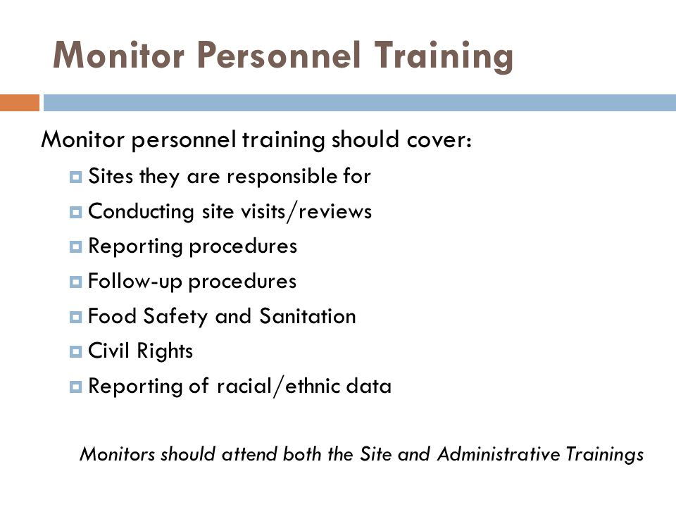 Monitor Personnel Training