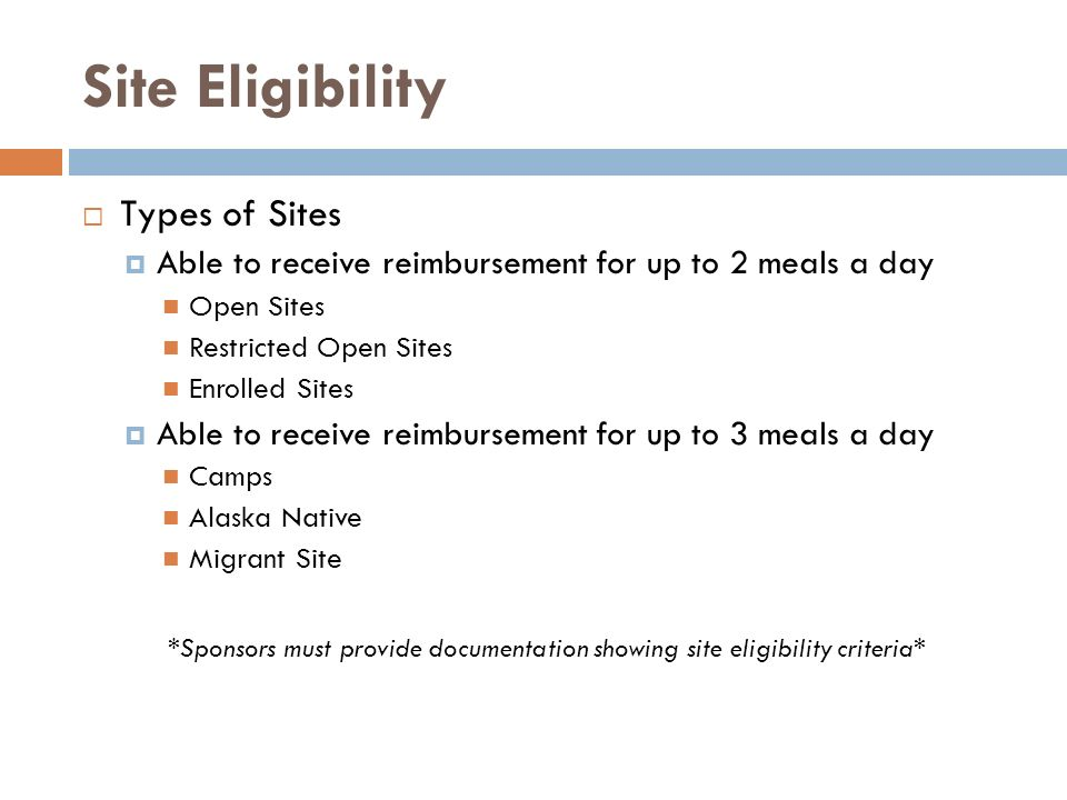 Site Eligibility Types of Sites
