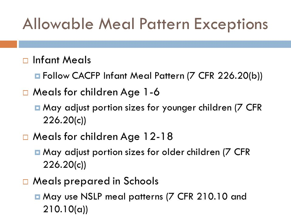 Allowable Meal Pattern Exceptions