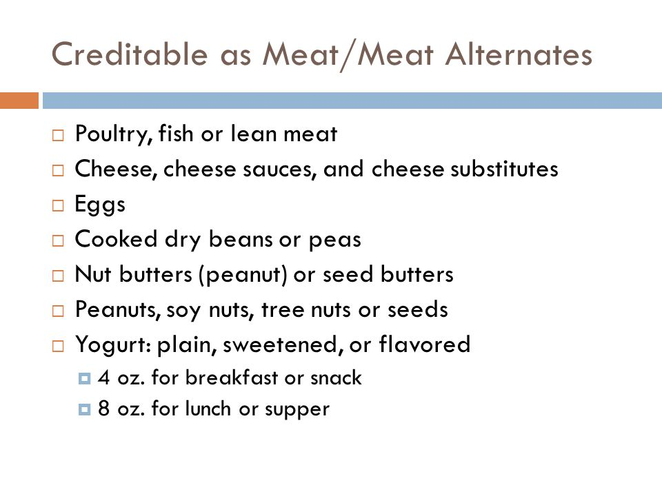 Creditable as Meat/Meat Alternates