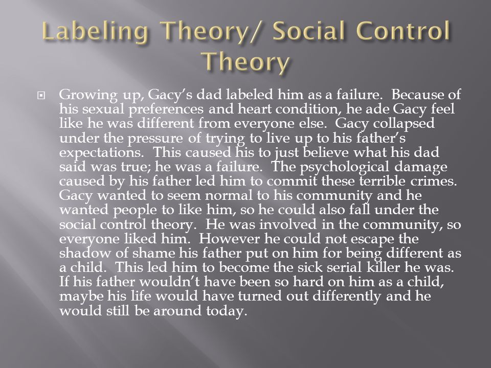 serial killers and the social control theory Hickey7e_ch 04 - chapter 4 social construction of serial  theory neutralization theory social control theory labeling theory  of juvenile serial killers.