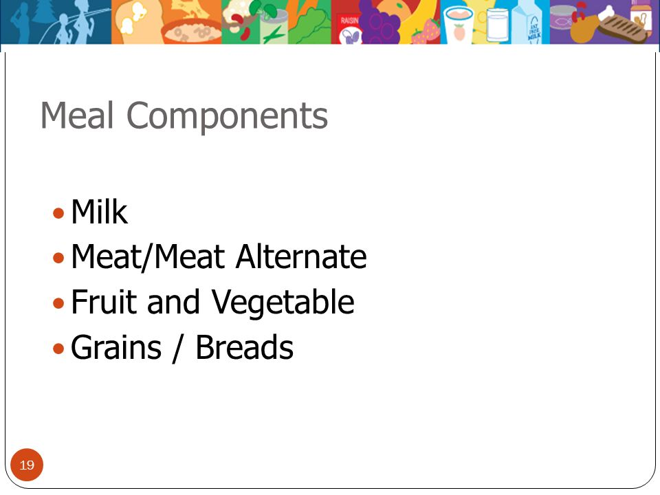 Meal Components Milk Meat/Meat Alternate Fruit and Vegetable