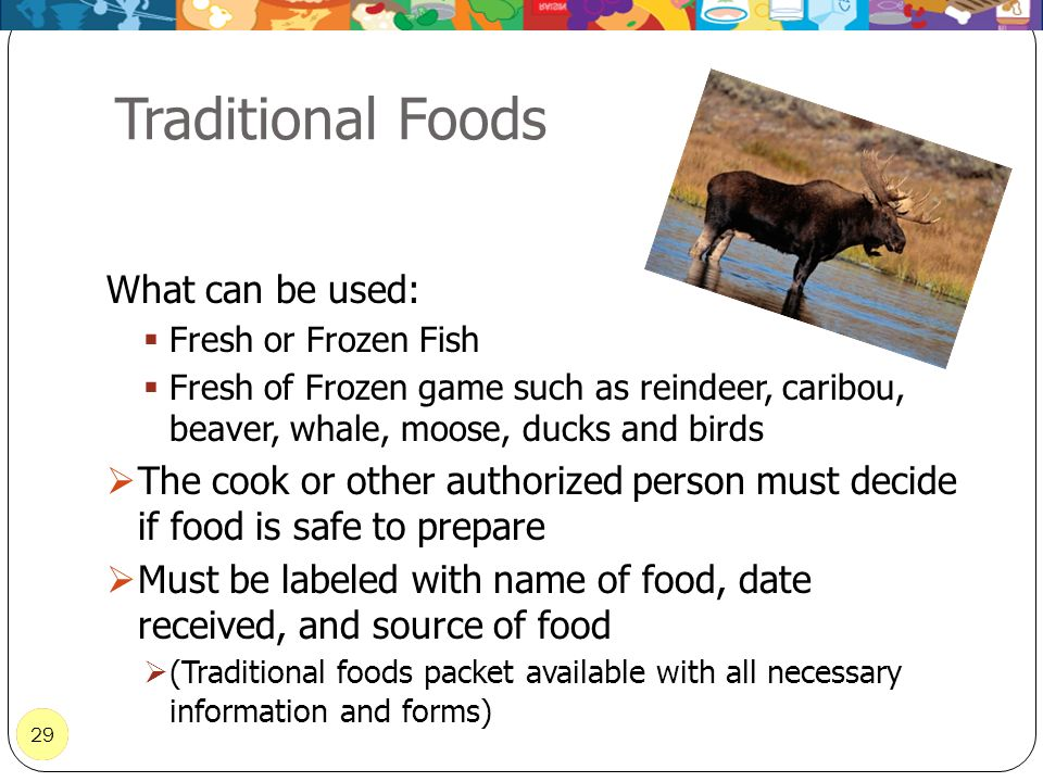 Traditional Foods What can be used: