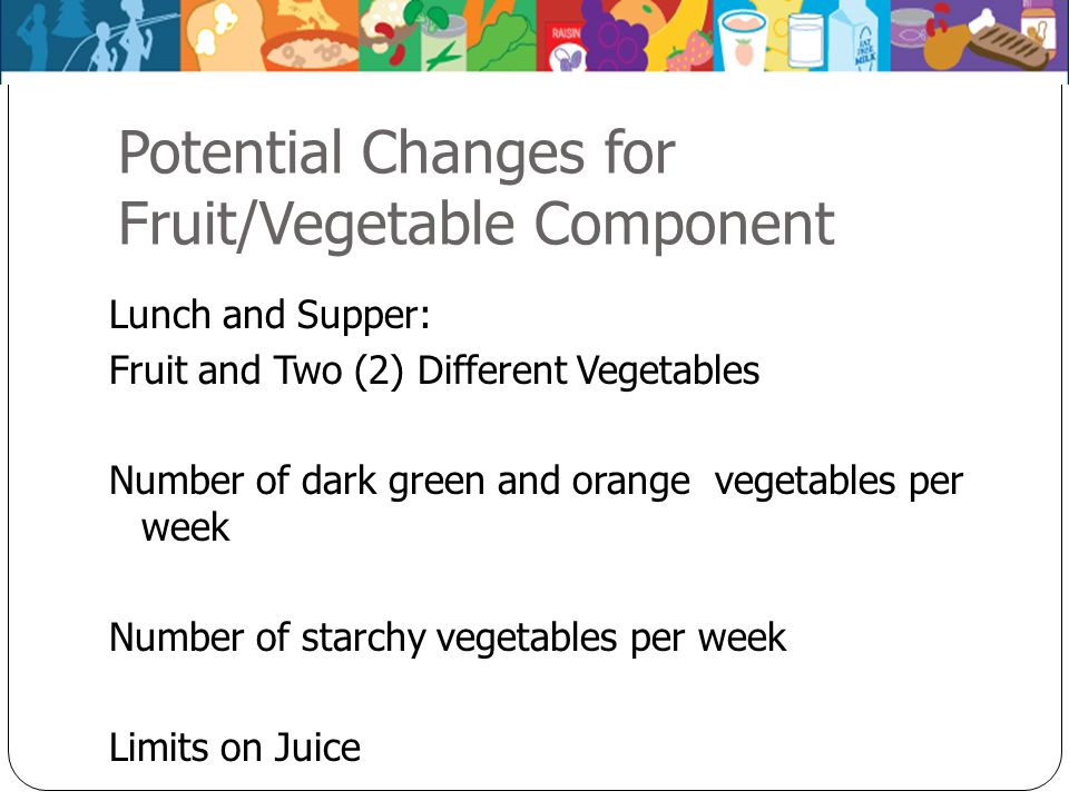 Potential Changes for Fruit/Vegetable Component