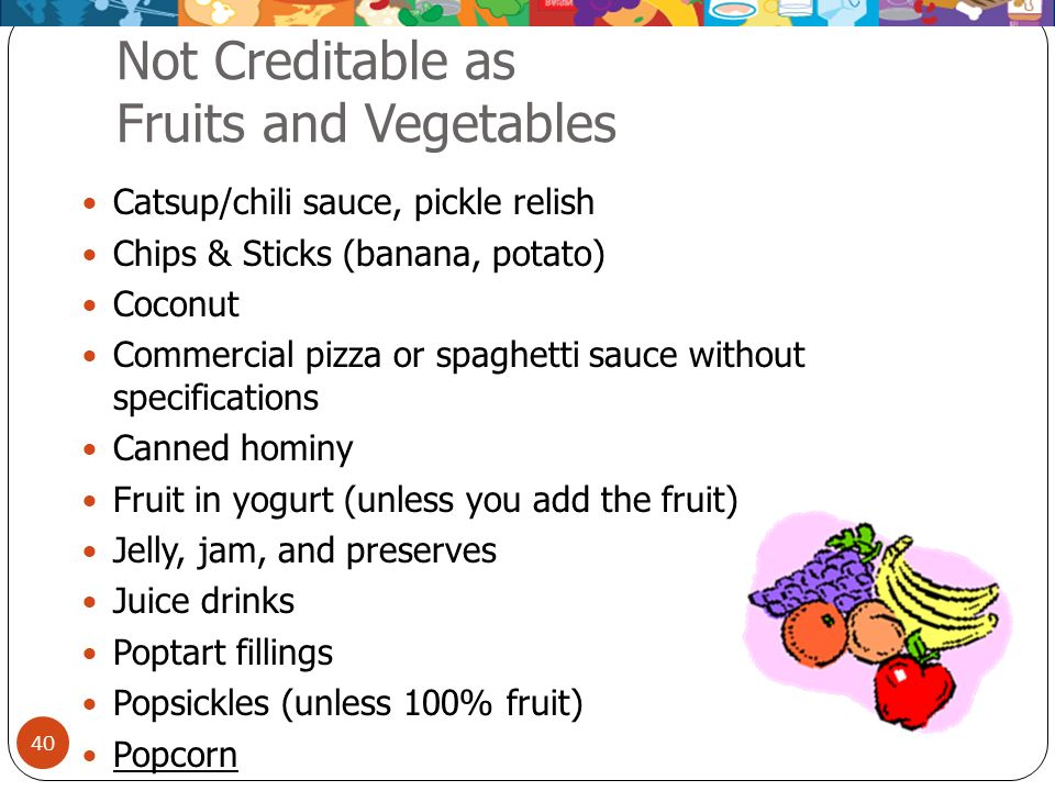Not Creditable as Fruits and Vegetables