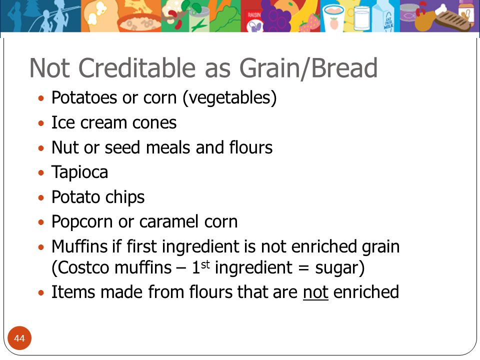 Not Creditable as Grain/Bread