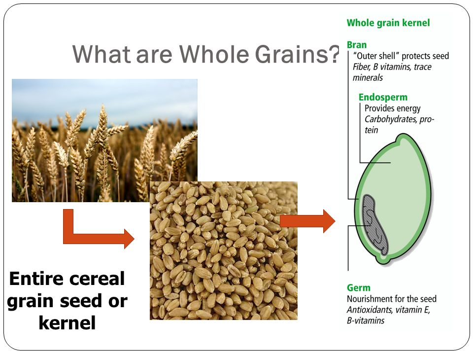 Entire cereal grain seed or kernel