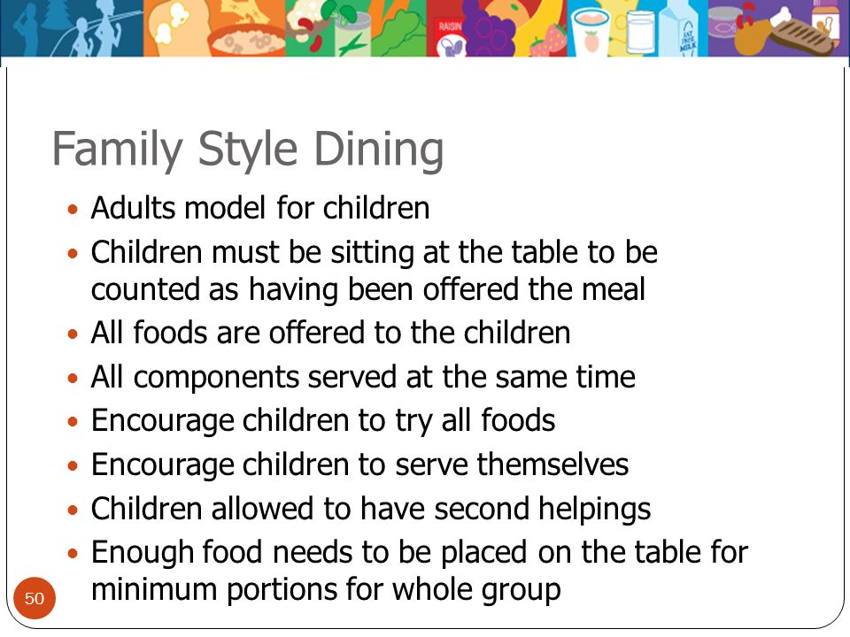 Family Style Dining Adults model for children