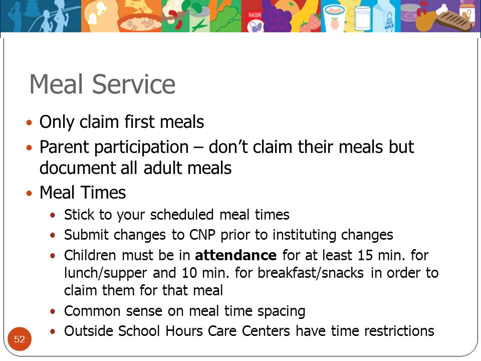 Meal Service Only claim first meals
