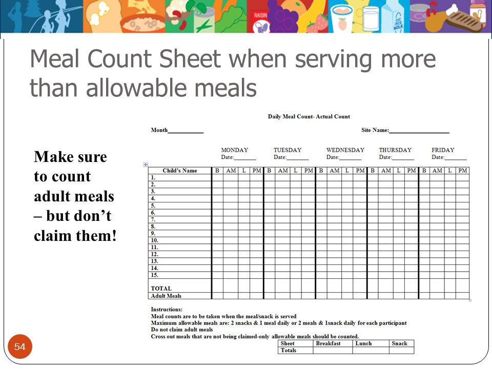 Meal Count Sheet when serving more than allowable meals