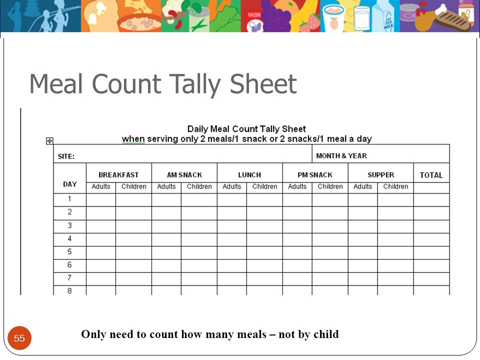 Meal Count Tally Sheet 3 meal count sheets – just examples. Only need to count how many meals – not by child.