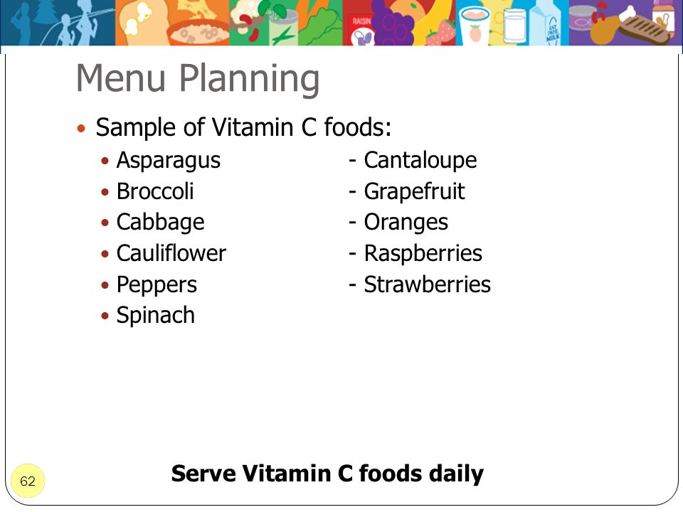 Serve Vitamin C foods daily