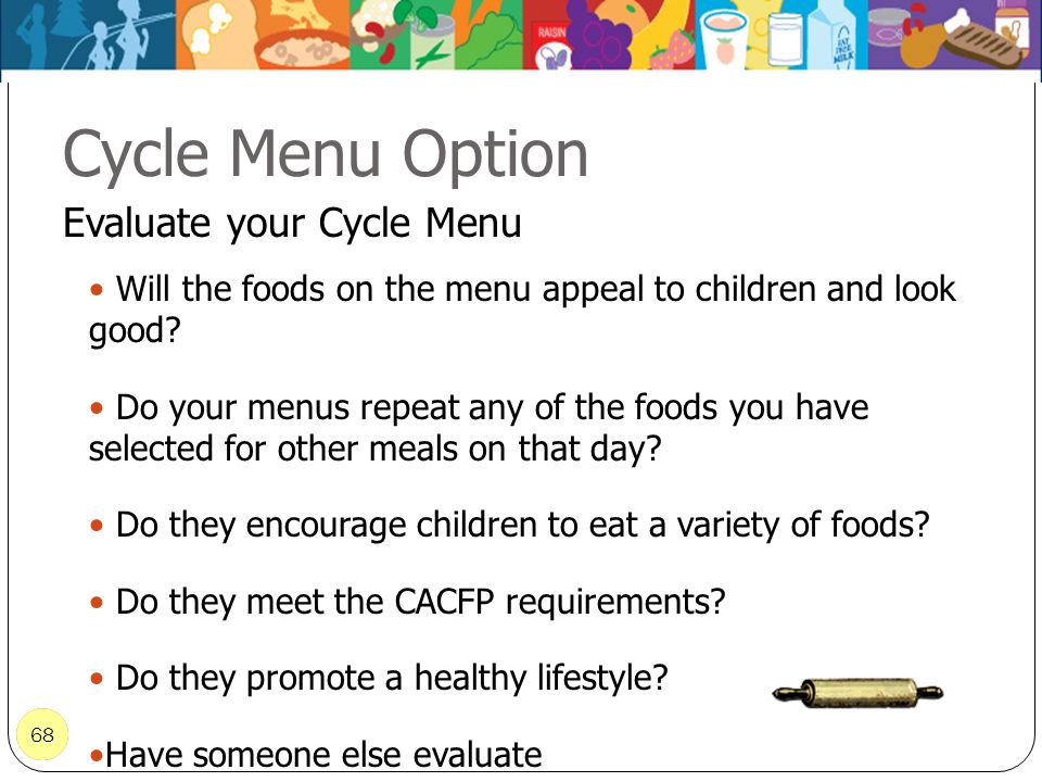 Cycle Menu Option Evaluate your Cycle Menu