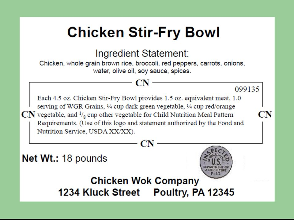 Here is an example of an ideal CN Labeled Product that demonstrates the changes to the crediting statements.