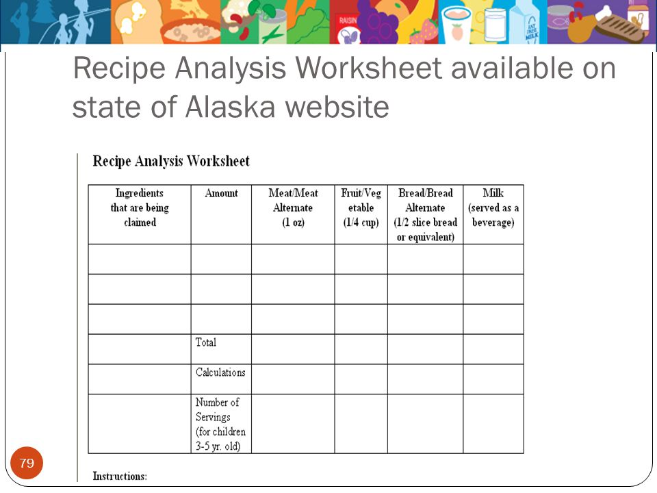 Recipe Analysis Worksheet available on state of Alaska website