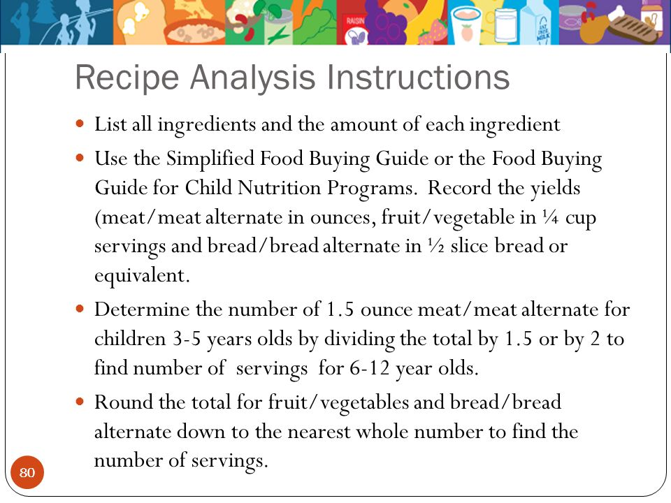 Recipe Analysis Instructions