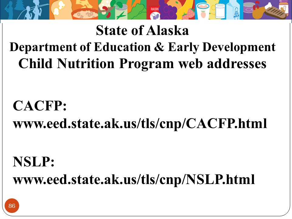 State of Alaska Child Nutrition Program web addresses