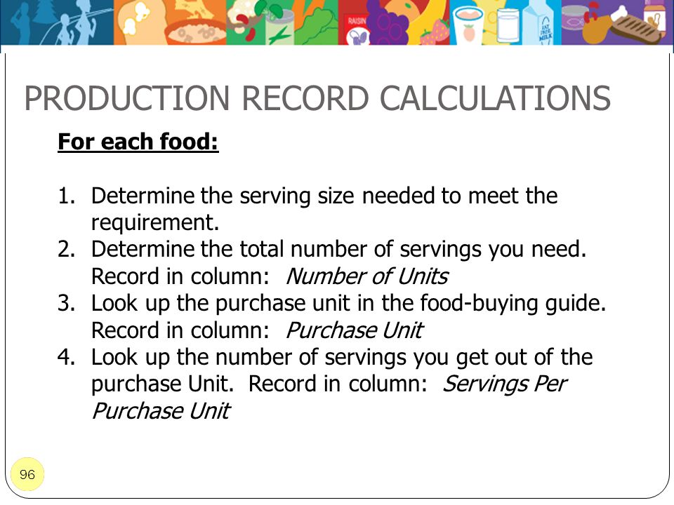 PRODUCTION RECORD CALCULATIONS