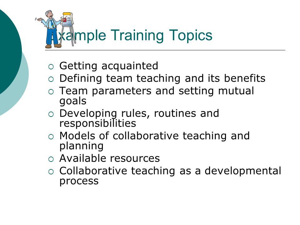 Example Training Topics