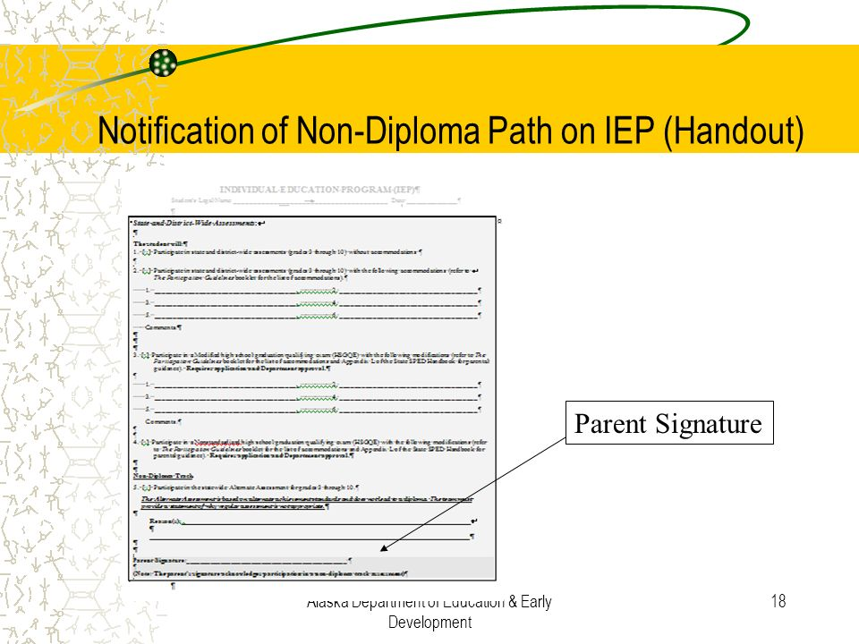 Notification of Non-Diploma Path on IEP (Handout)