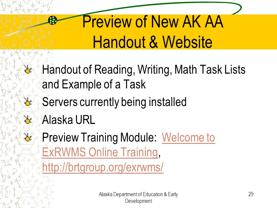Preview of New AK AA Handout & Website