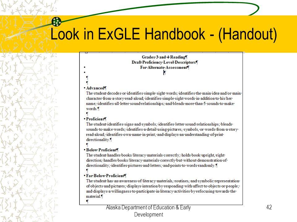 Look in ExGLE Handbook - (Handout)