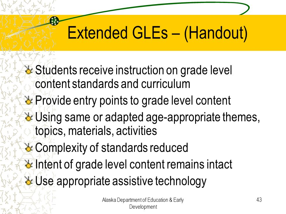 Extended GLEs – (Handout)