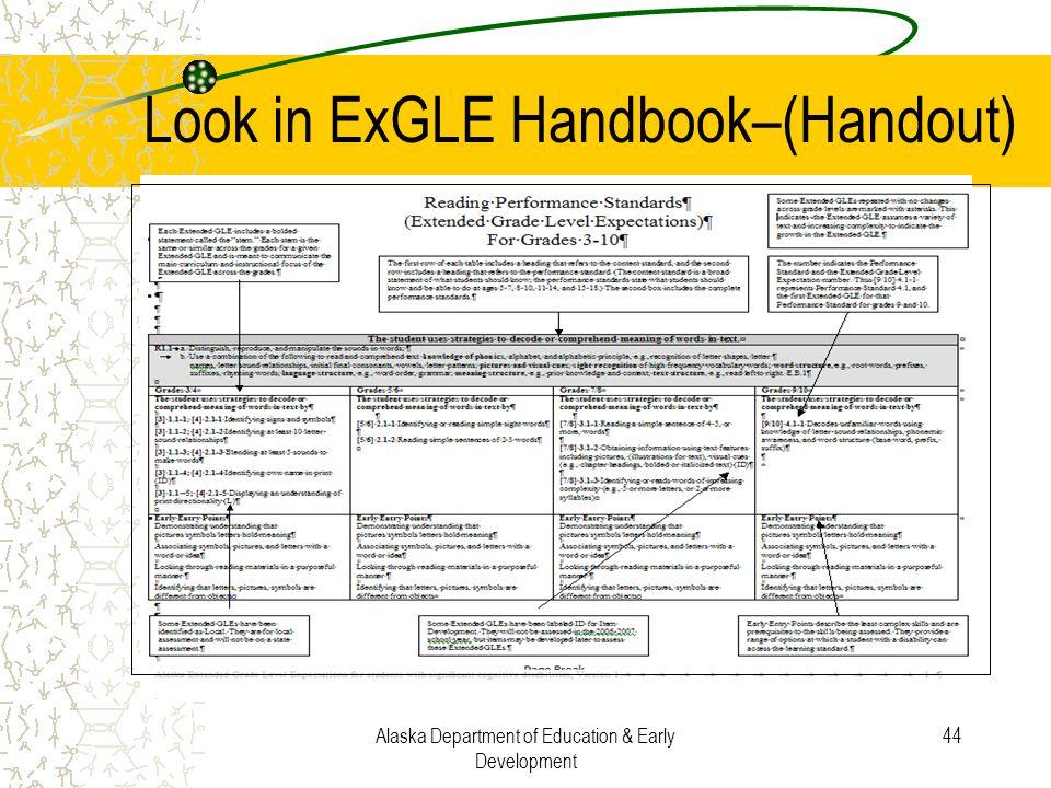 Look in ExGLE Handbook–(Handout)