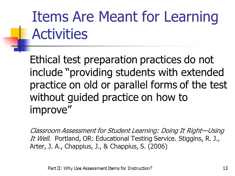 Items Are Meant for Learning Activities