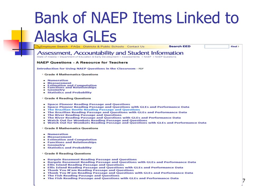 Bank of NAEP Items Linked to Alaska GLEs