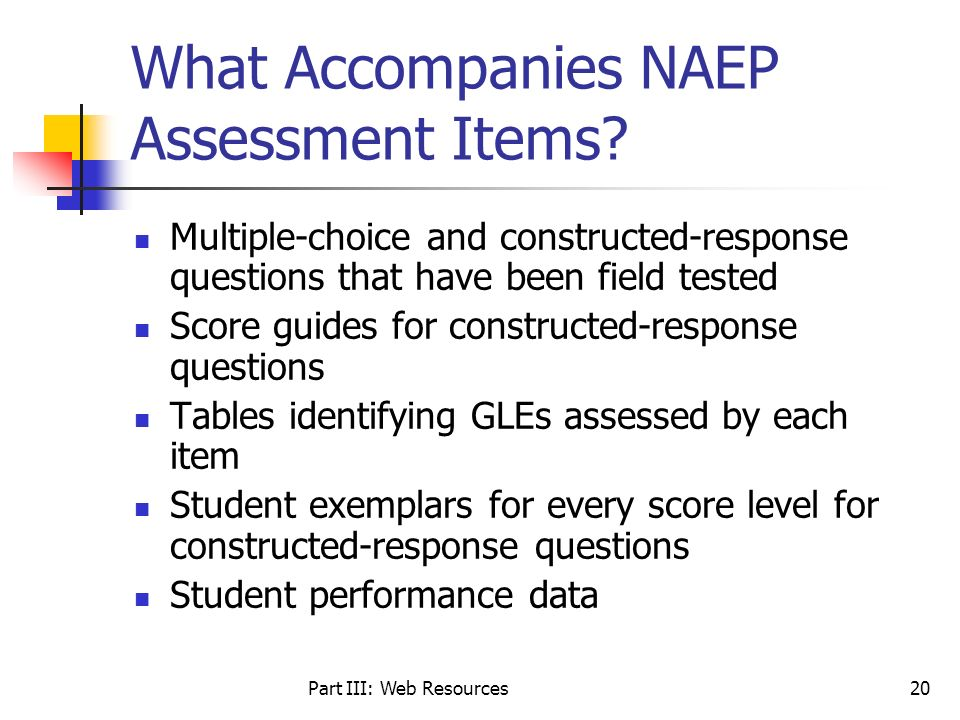What Accompanies NAEP Assessment Items
