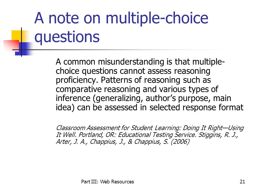 A note on multiple-choice questions