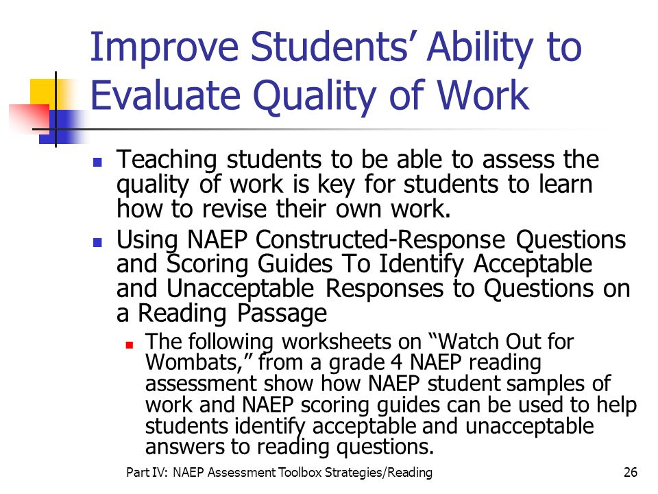 Improve Students' Ability to Evaluate Quality of Work