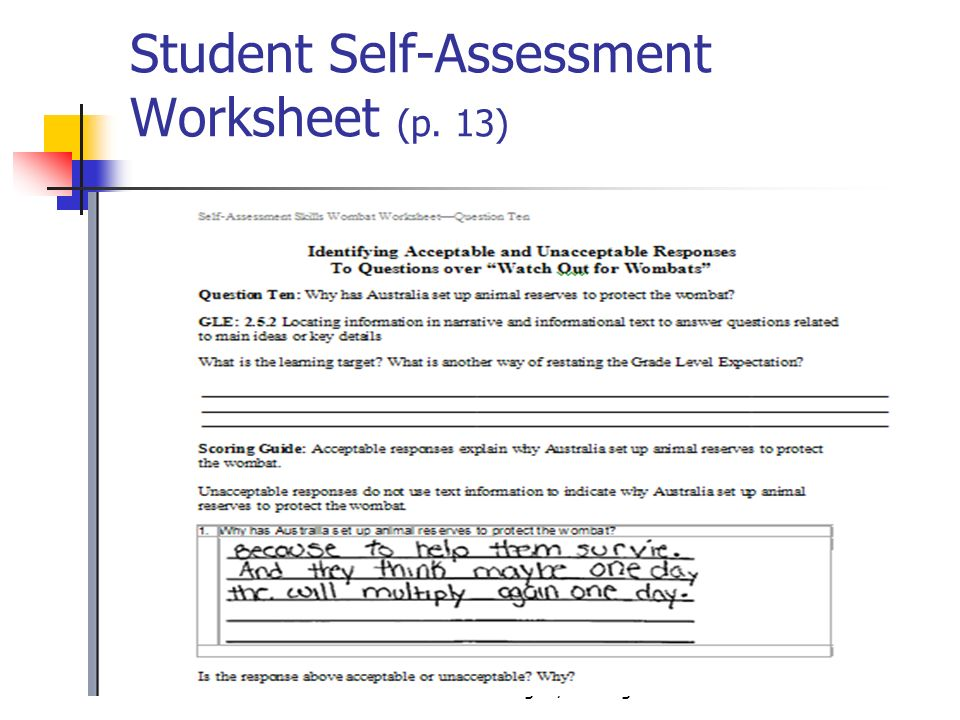 Student Self-Assessment Worksheet (p. 13)