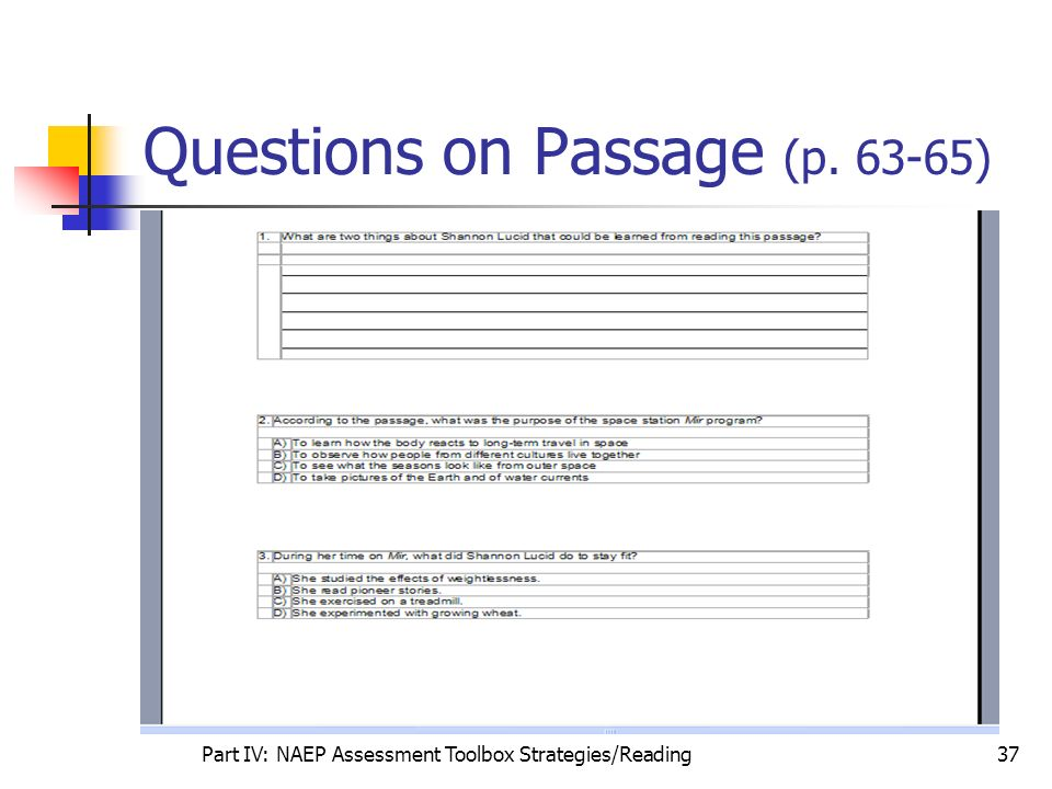 Questions on Passage (p. 63-65)