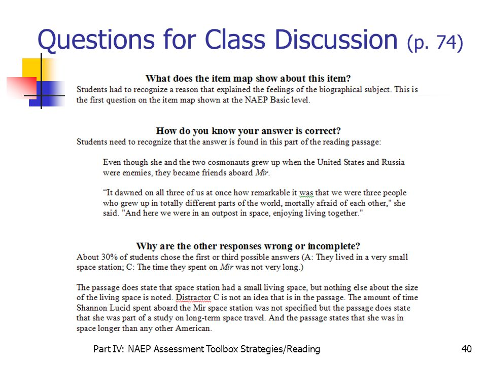 Questions for Class Discussion (p. 74)