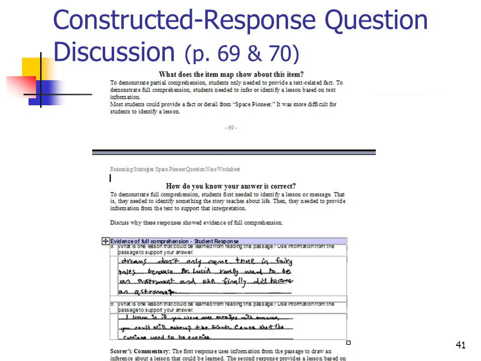 Constructed-Response Question Discussion (p. 69 & 70)